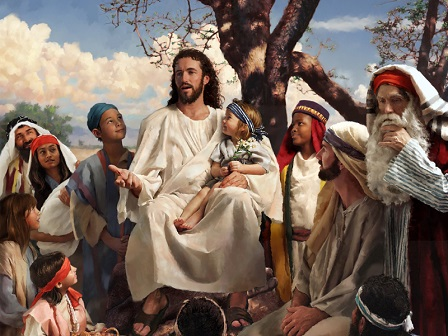 Jesus preaches to a crowd